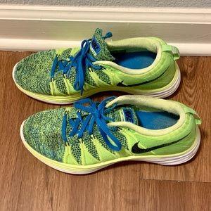 Nike Flyknit Lunar 2 Green Blue Sz 8 Running Shoe